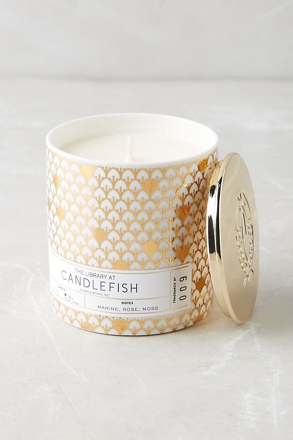 We're big fans of Charleston candle brand Candlefish. Our signature is No9 (marine notes, stone fruit, rose and moss).