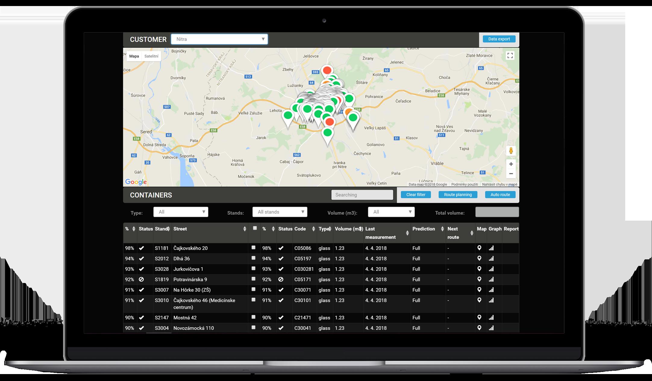 Smart hanteringssystem - Den kraftfulla molnbaserade plattformen gör det möjligt för kunden att konfigurera, övervaka och hantera daglig avfallshantering. Förutom övervakning i realtid, kan verktyget även planera optimala insamlingsvägar och halvautomatisk navigering. Lösningen ligger i MS Azure moln.Fjärrhantera avfall via mobilappar för operatör, förare och medborgare.