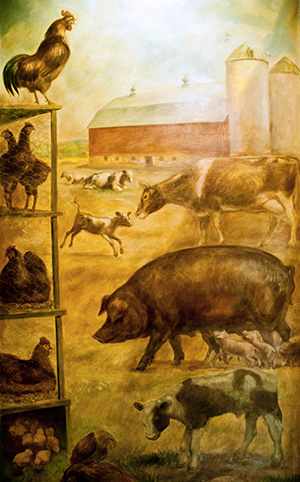 """John Steuart Curry,  Southwest Panel, """"The Social Benefits of Biochemical Research""""  c. 1941-43. Oil and tempera on canvas. Collection of Public Art at UW–Madison."""