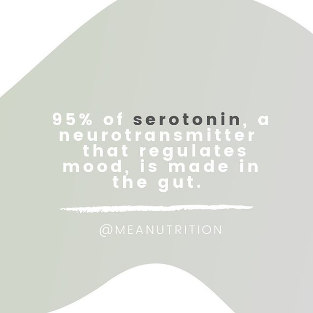 "Serotonin, aka the ""happy neurotransmitter"" is primarily produced in the GI tract and therefore heavily influenced by the state of your gut microbiota, which are microorganisms in your gut that regulate a host of mechanisms crucial to your physiology. Just another reason why a healthy gut is so important for your mental wellness! . . . . . #guthealth #gutmicrobiome #healthygut #nutritionforthemind #probiotics #digestion #registereddietitian #healthybrain #nutritionist #brainhealth #healthymind #integrativemedicine #psychiatry #psychology #depressionrelief #brainhealing #depressionsupport #anxiety #anxietysupport #mindbodyconnection #gutbrainaxis #alternativemedicine #mentalwellbeing #foodforthebrain #mindbody #mentalhealth #prebiotics #serotonin #happy #happybrain"
