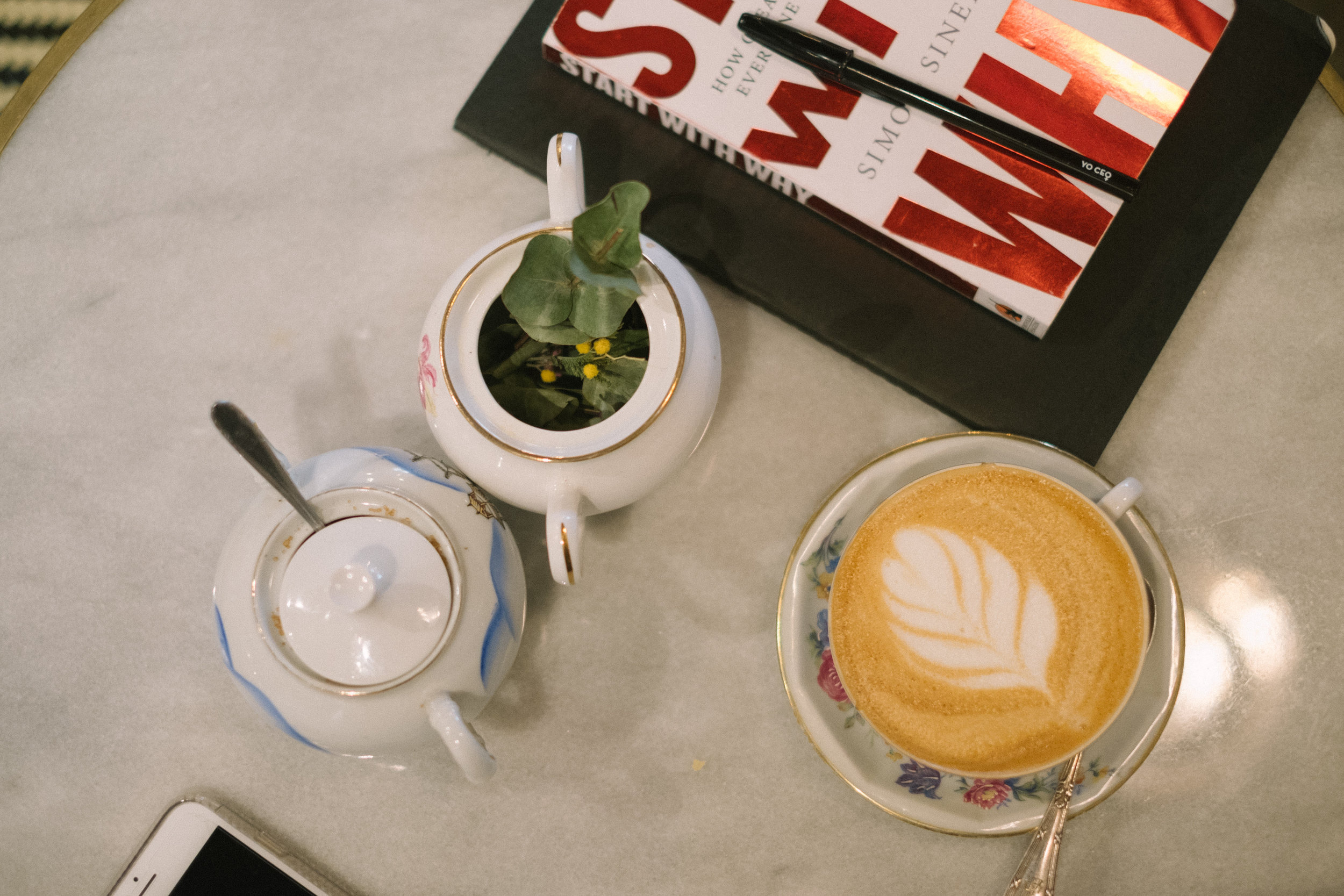 Coffee and book on a table
