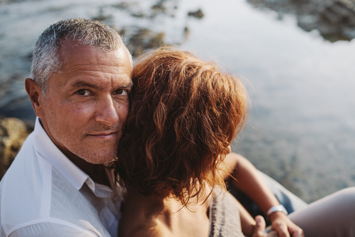 couple photograph, man looking at the camera
