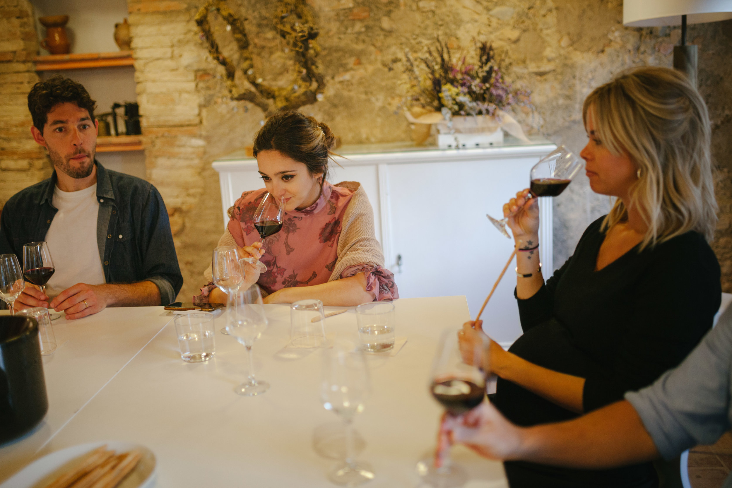 Two women tasting wine