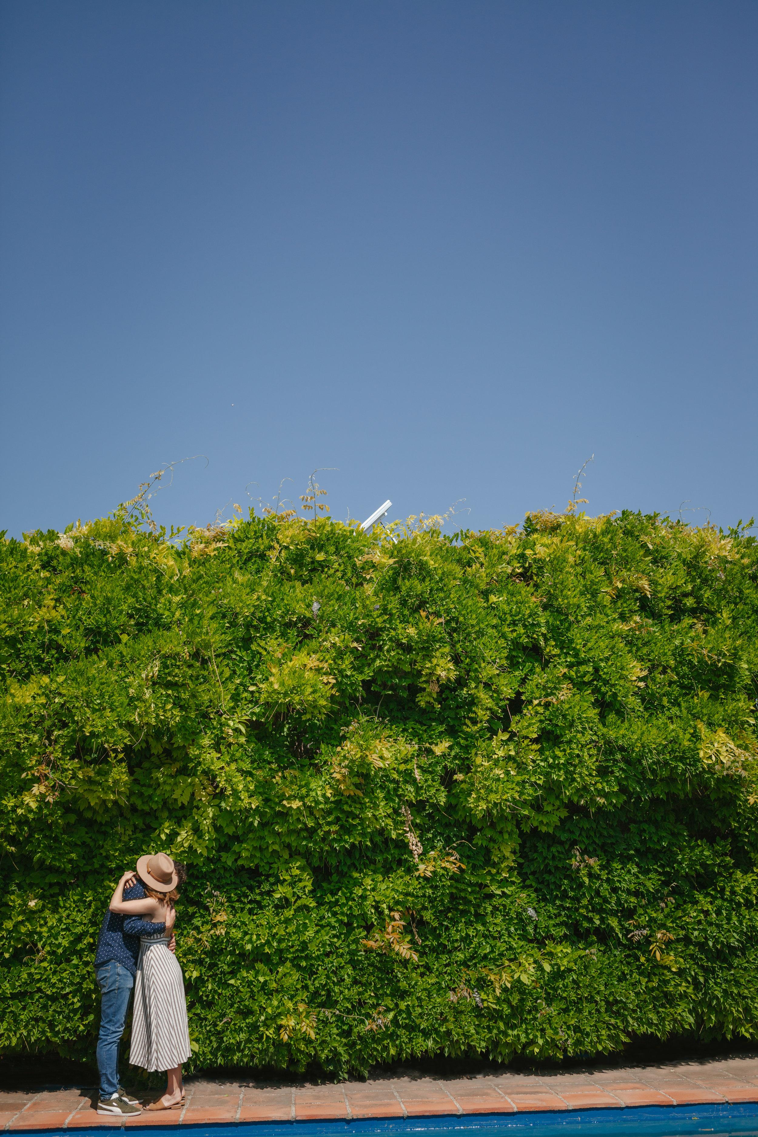 Pareja abrazándose frente a pared verde de plantas.