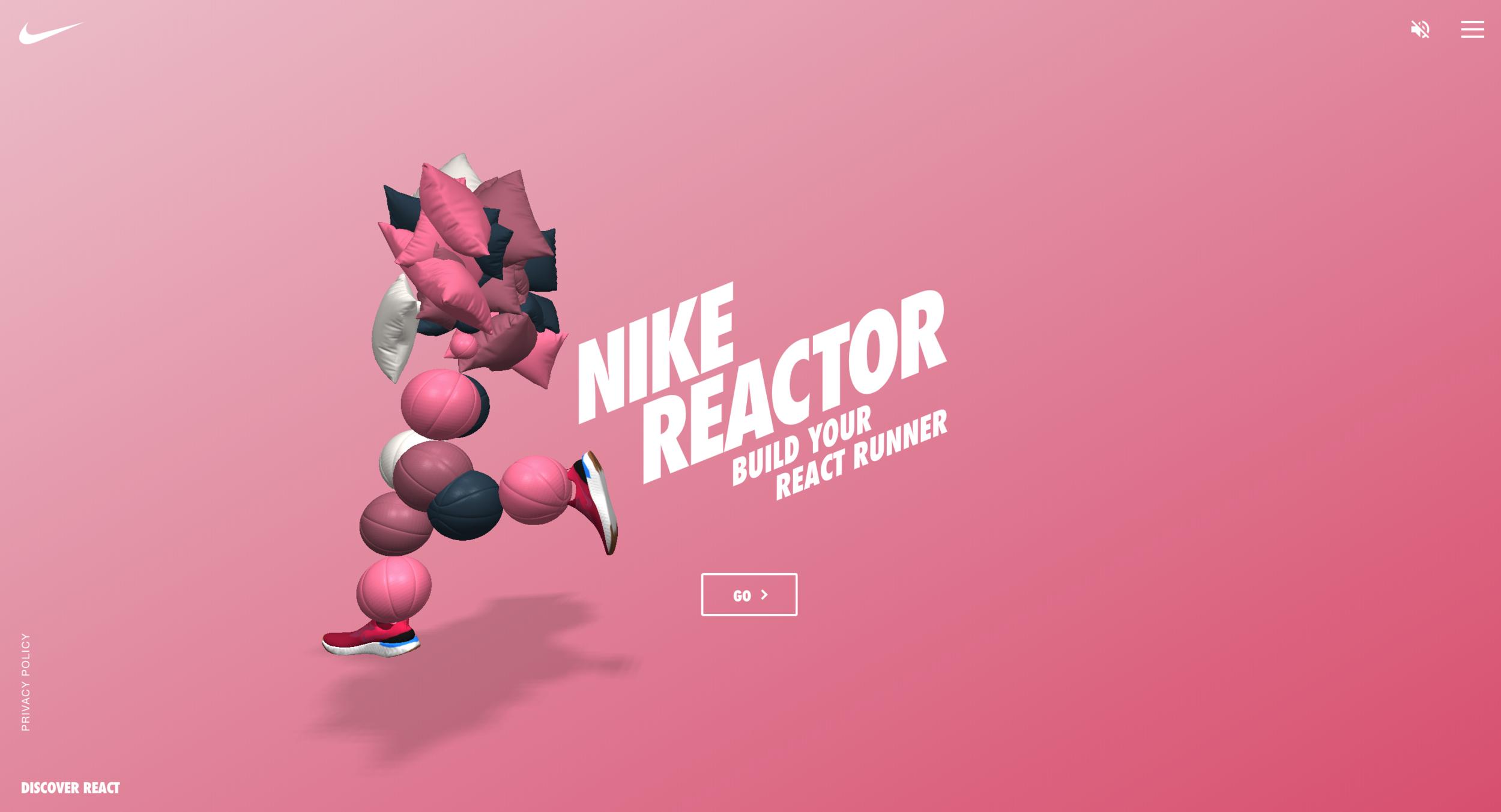 Nike React Landing  Page . ©Nike