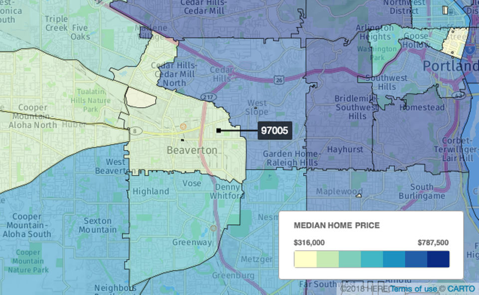 Central Beaverton  In the 97005 ZIP code, there were 83 sales. Homes spent an average of 18 days on the market, and the median sales price was $345,000, down 1.4 percent from $350,000 a year earlier.
