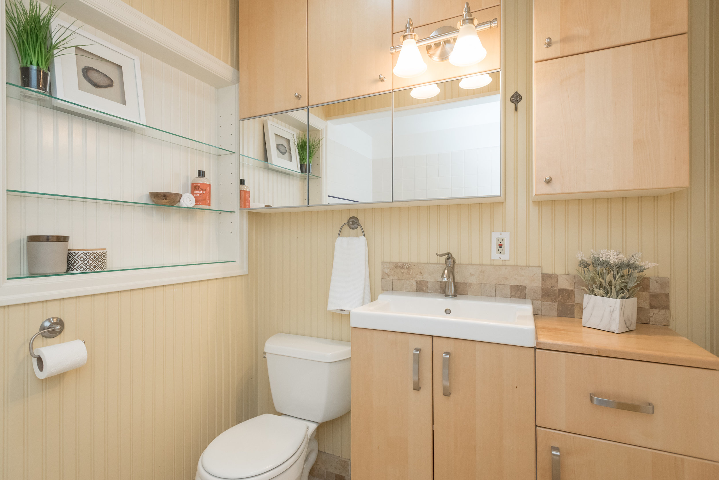 Storage is another factor to consider, and the lighting is great in this bathroom.