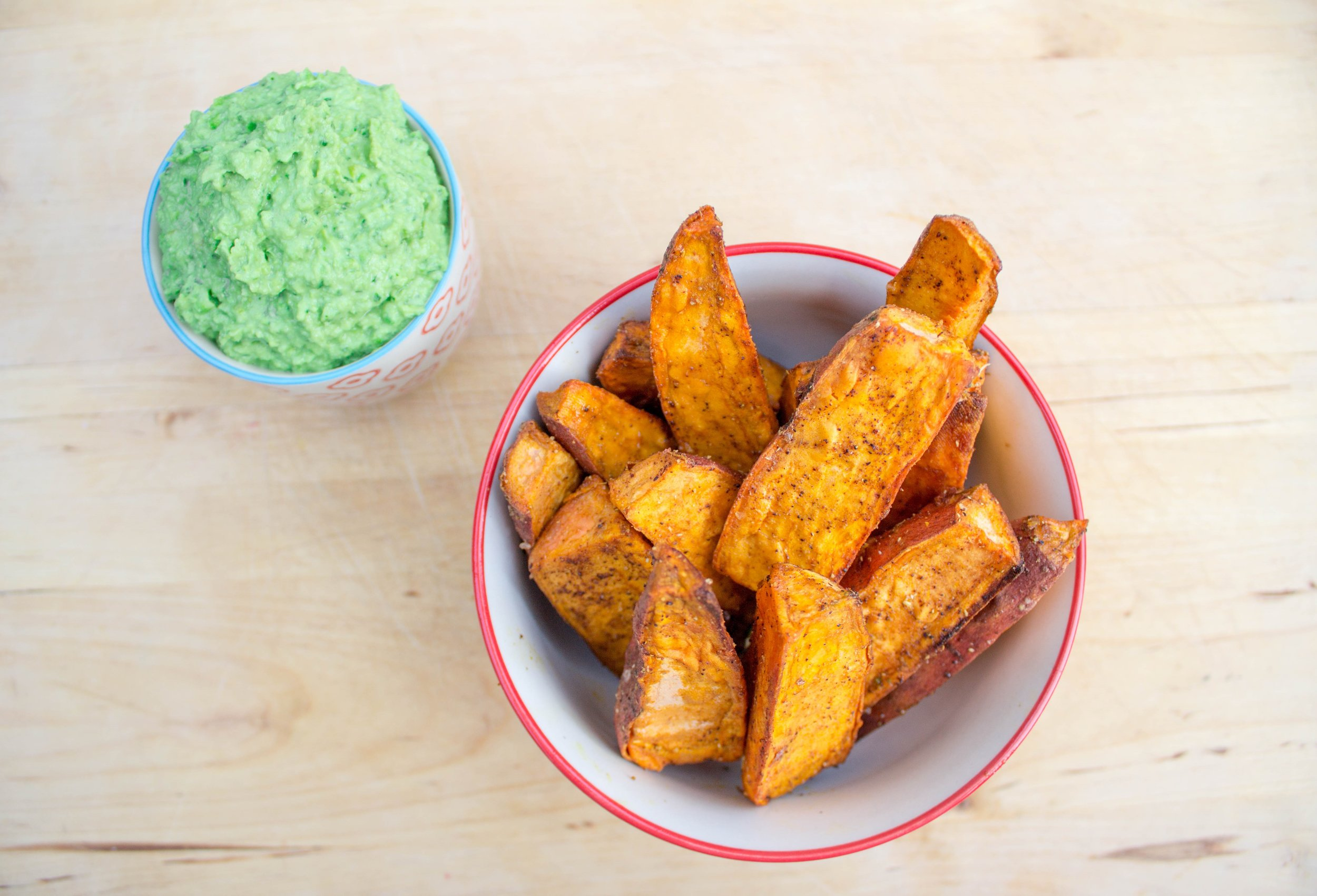 Baked Sweet Potato Wedges & Summer Pea Dip