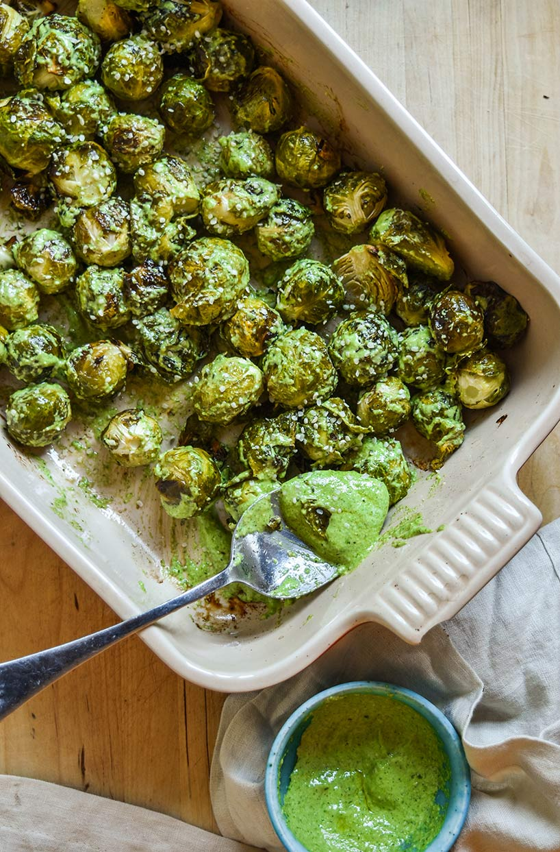 Nut-Free Hemp Pesto Roasted Brussel Sprouts