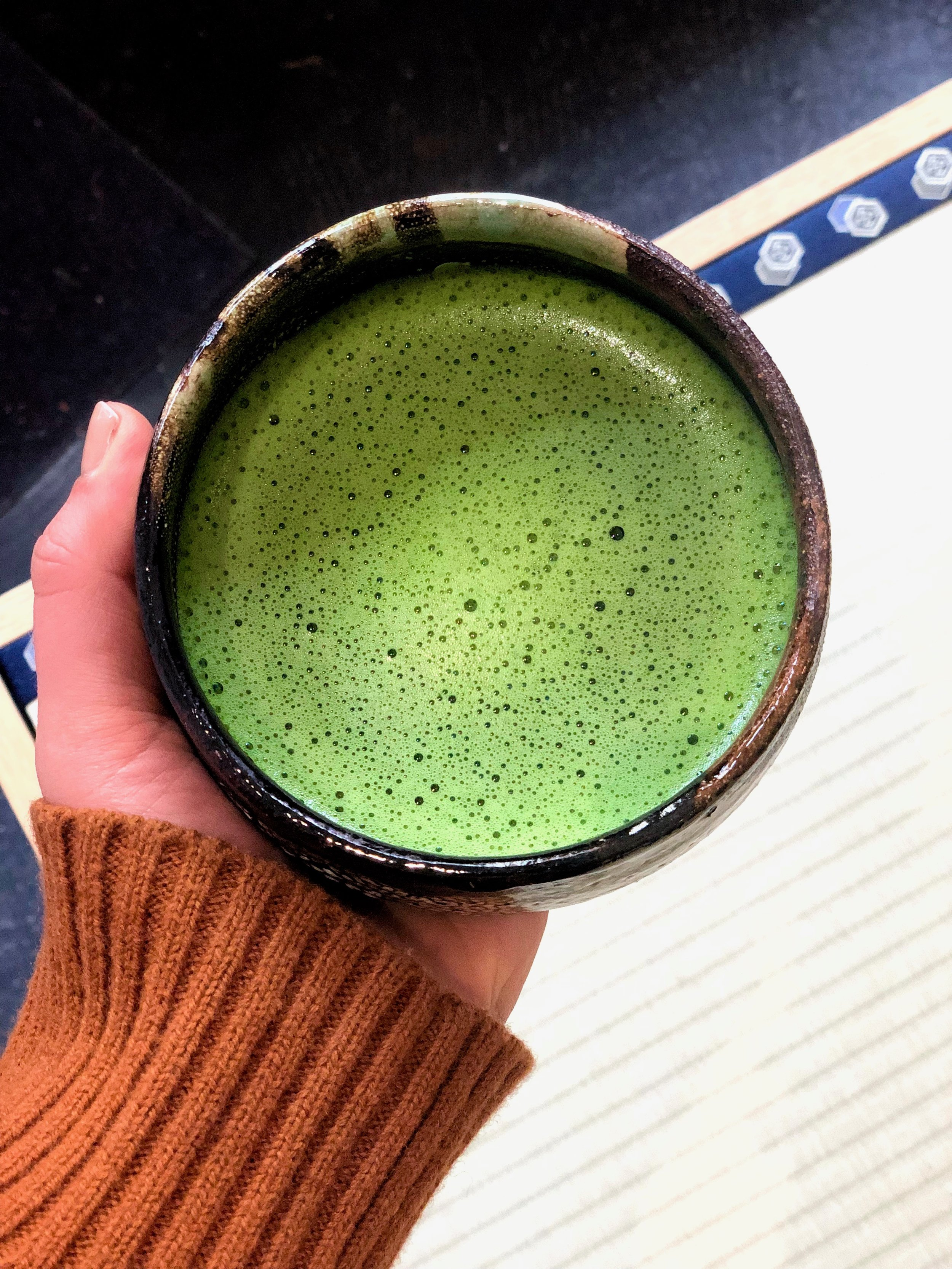 Bright green cup of matcha