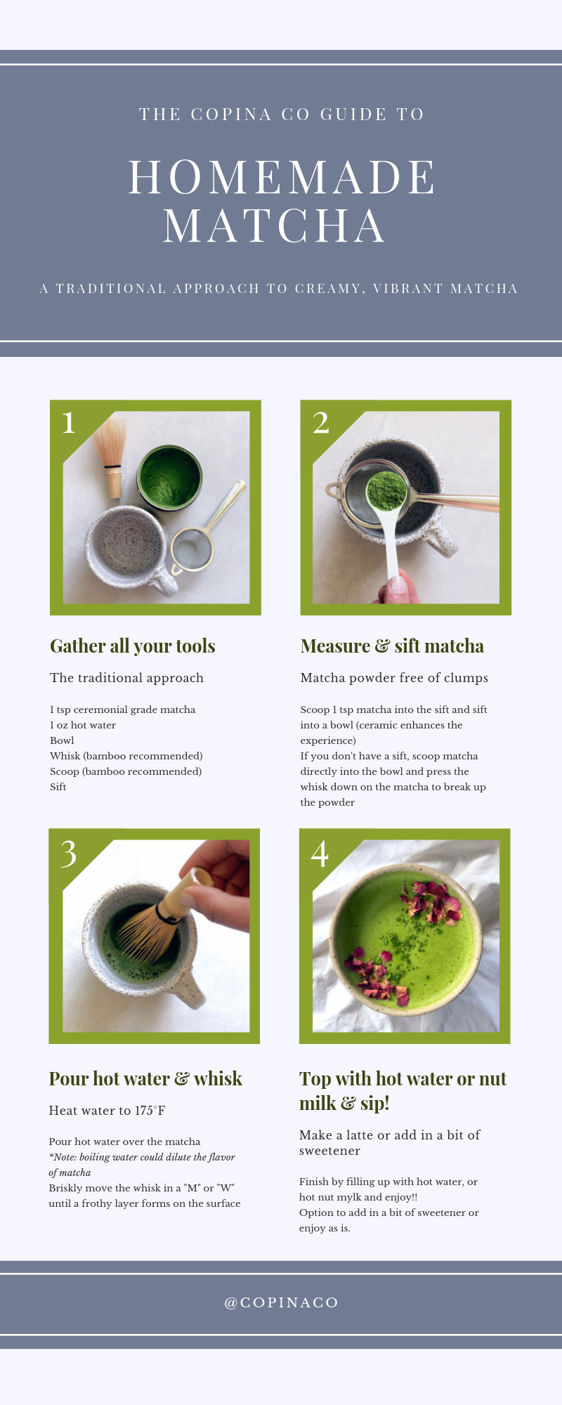 Infographic for making traditional matcha