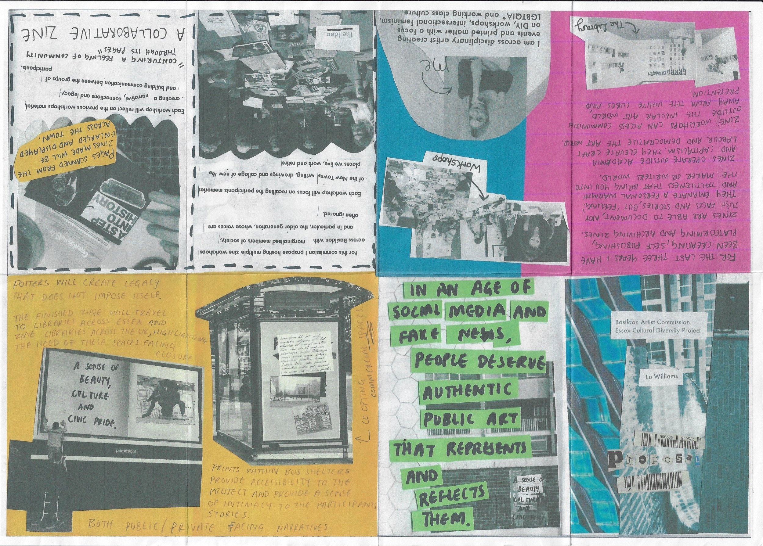 Zine that is a proposal by Lu Williams 30th Jan 2019