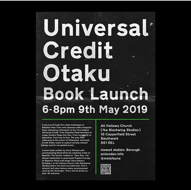 Book launch this Thursday by Basildon artist @11yrz : 9/5/19 6-8pm All Hallows Church (fka) Blackwing Studios, 10 Copperfield Street, SE1 OEL. Published by @metafauna  #basildon #depechemode #universalcredit #otaku #daveday #japanese #hollywoodsign #allwelcome #booklaunch #illustration
