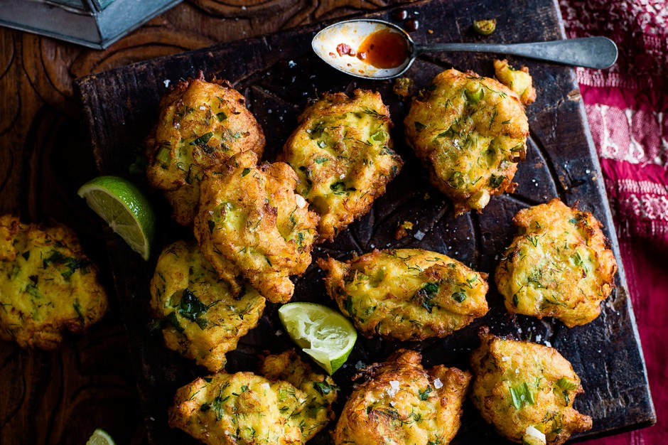 Cod fritters with harissa honey dip