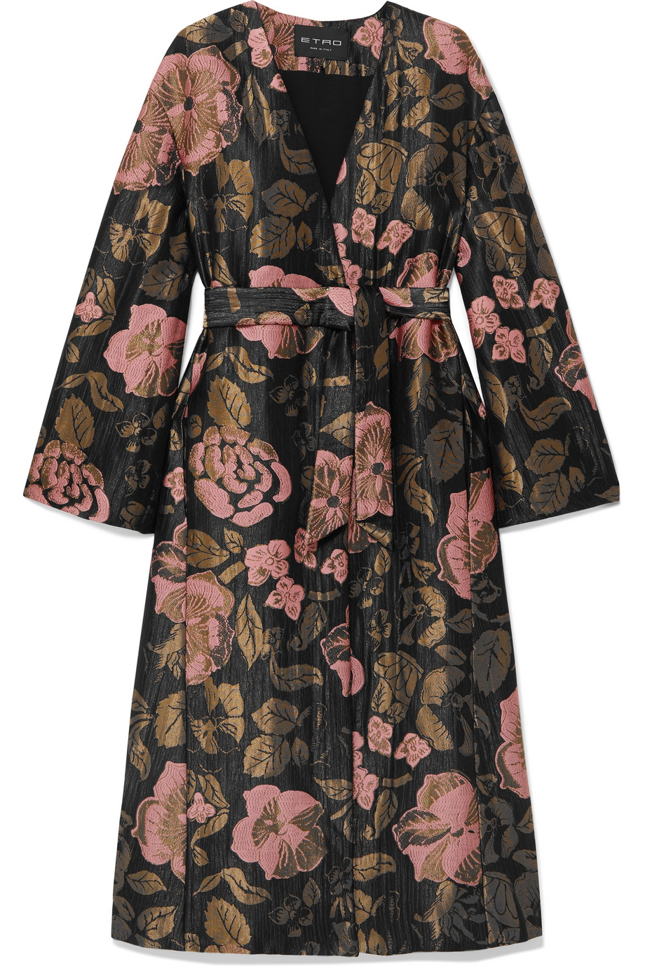 ETRO Belted metallic jacquard coat, £2,120