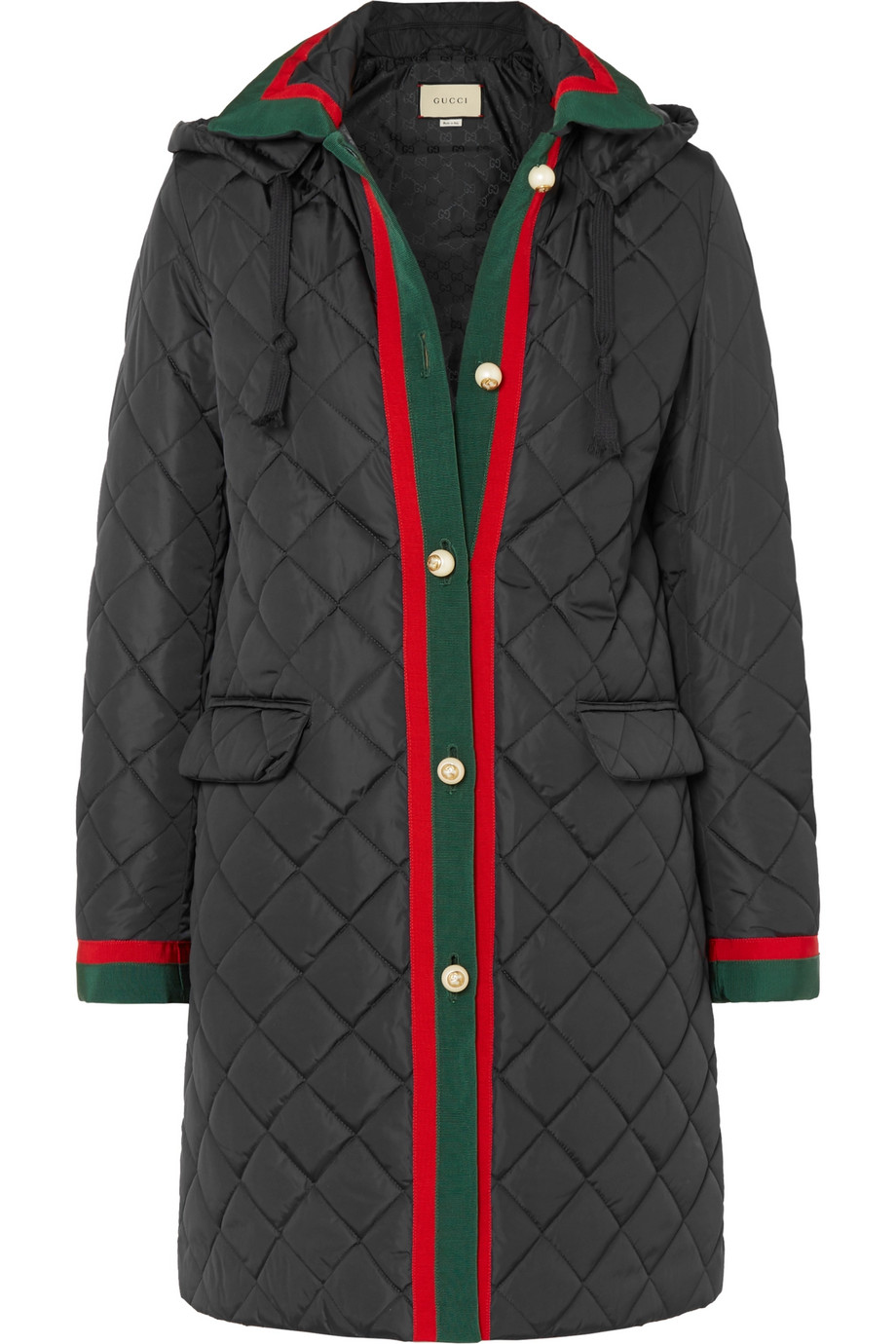 GUCCI Hooded grosgrain-trimmed quilted shell coat, £1,750