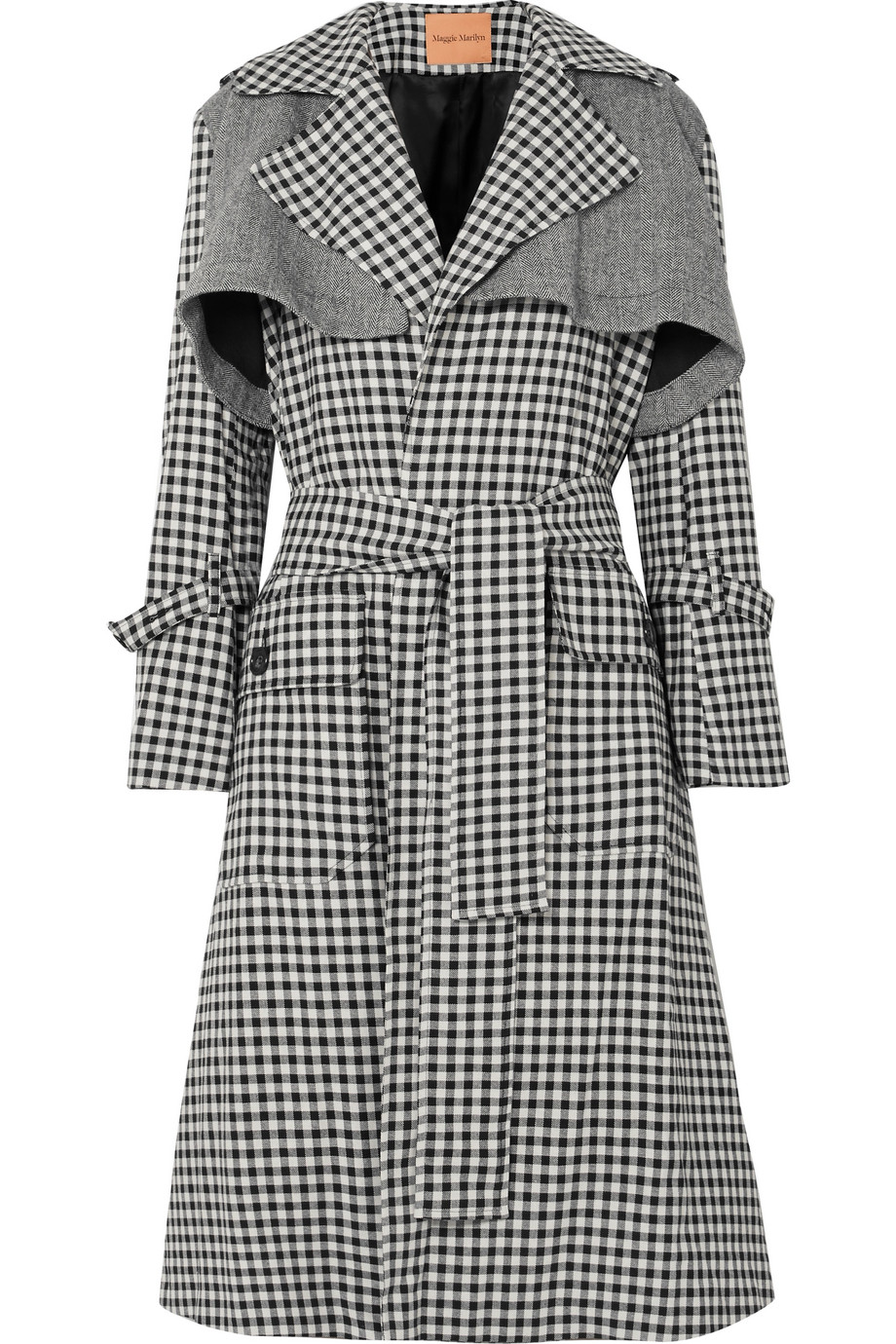 MAGGIE MARILYN Be Strong and Courageous gingham cotton and herringbone wool trench coat, £680