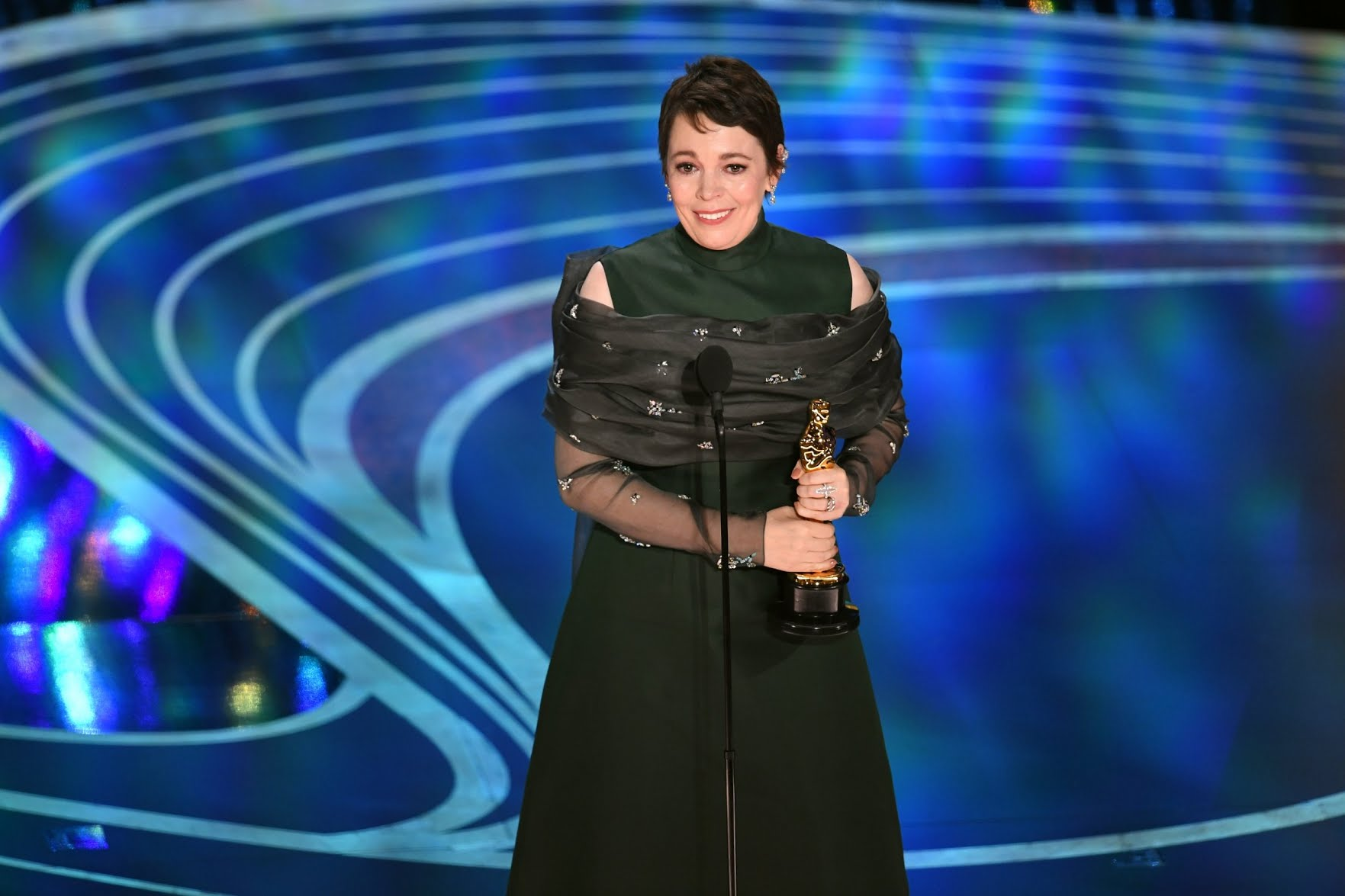 Olivia Colman accepts the Actress in a Leading Role award for The Favourite Getty Images