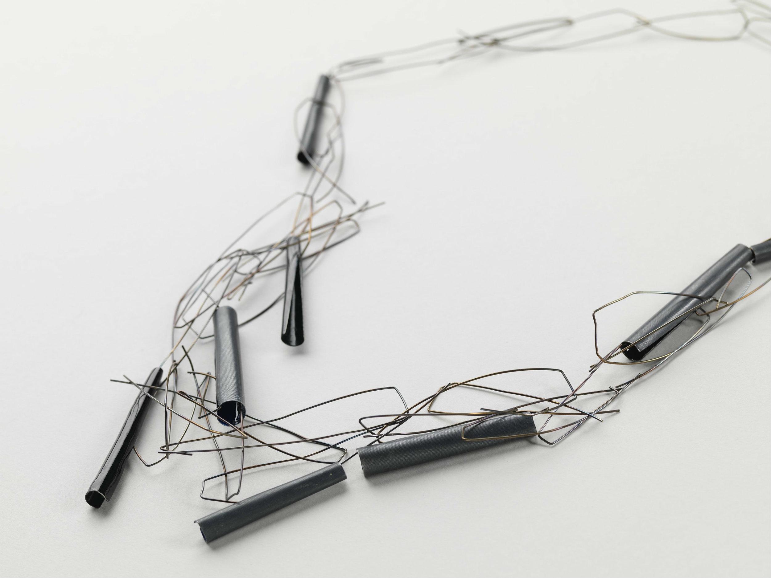'Untitled' Necklace, Sterling Silver, Enamel, Steel Wire