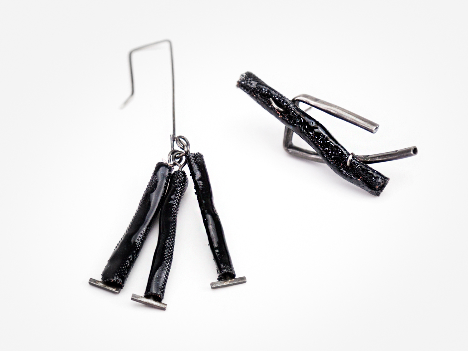 Individual Earrings; Sterling Silver, Copper Mesh, Enamel
