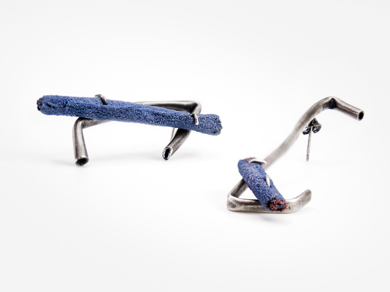 Individual Earring Studs; Sterling Silver, Copper Mesh, Enamel