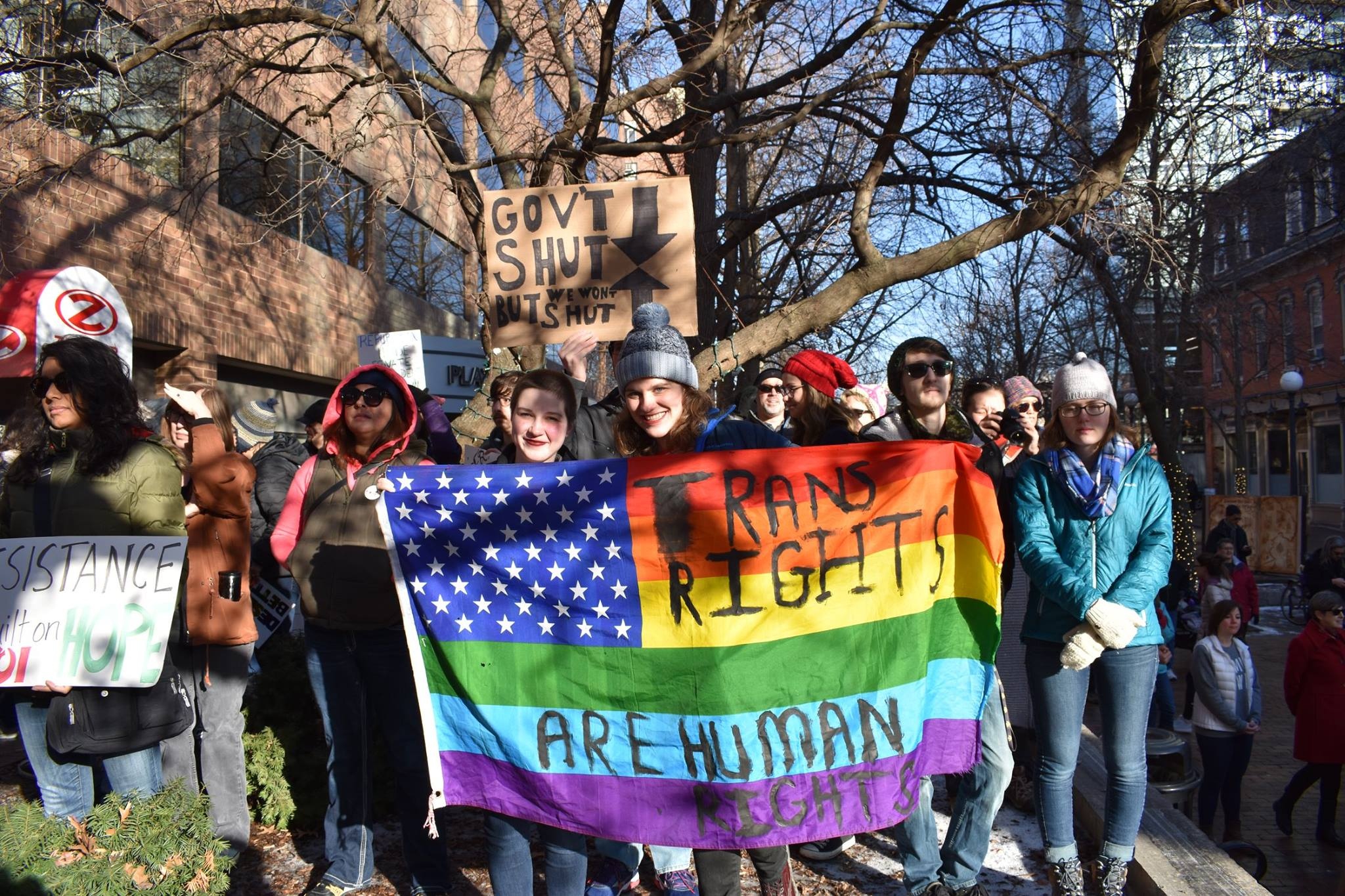 My partner, Charlie, and I at Women's March, in Iowa City.