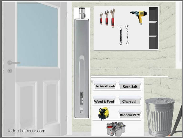 www.JadoreLeDecor.com Tips on how to successfully organize a compact one-care garage.   Small garage organization   small space living