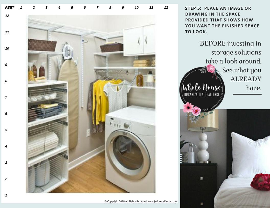 www.JadoreLeDecor.com   A small apartment laundry/utility room gets an overhaul.   Whole House Organization Challenge 2018 Kick-off