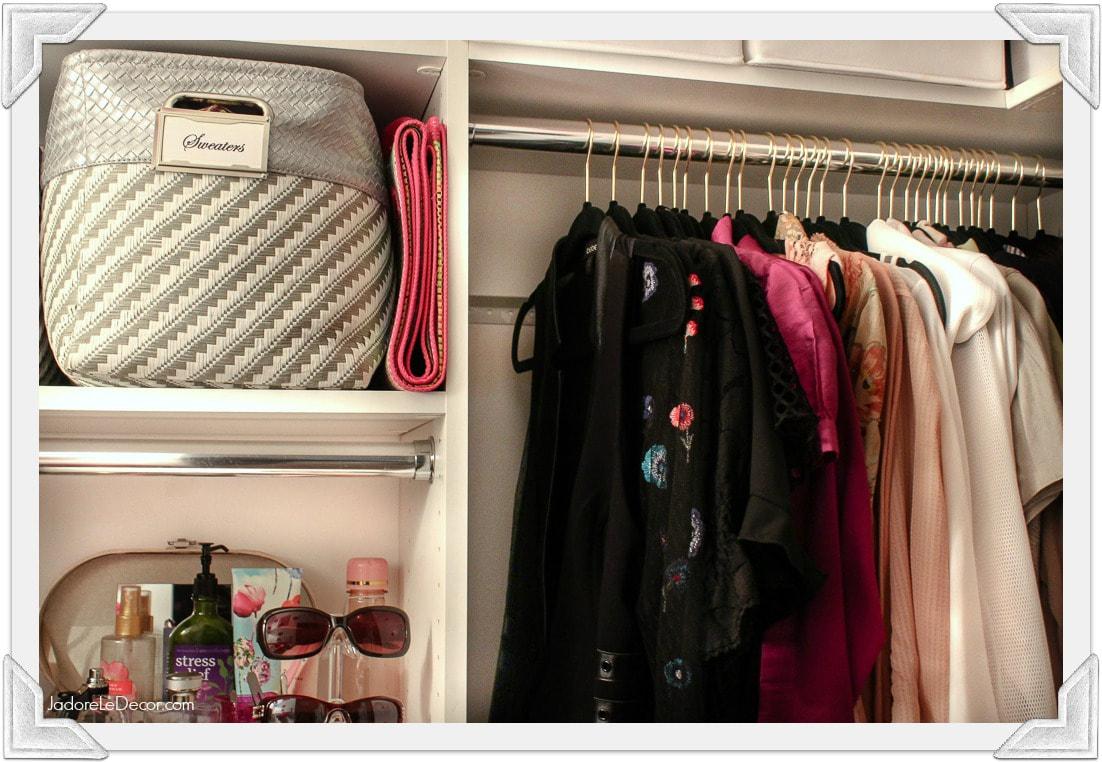 www.JadoreLeDecor.com | Follow these closet organization tips to make getting dressed in the morning more enjoyable. | Small closet organization | Whole House Organization Challenge