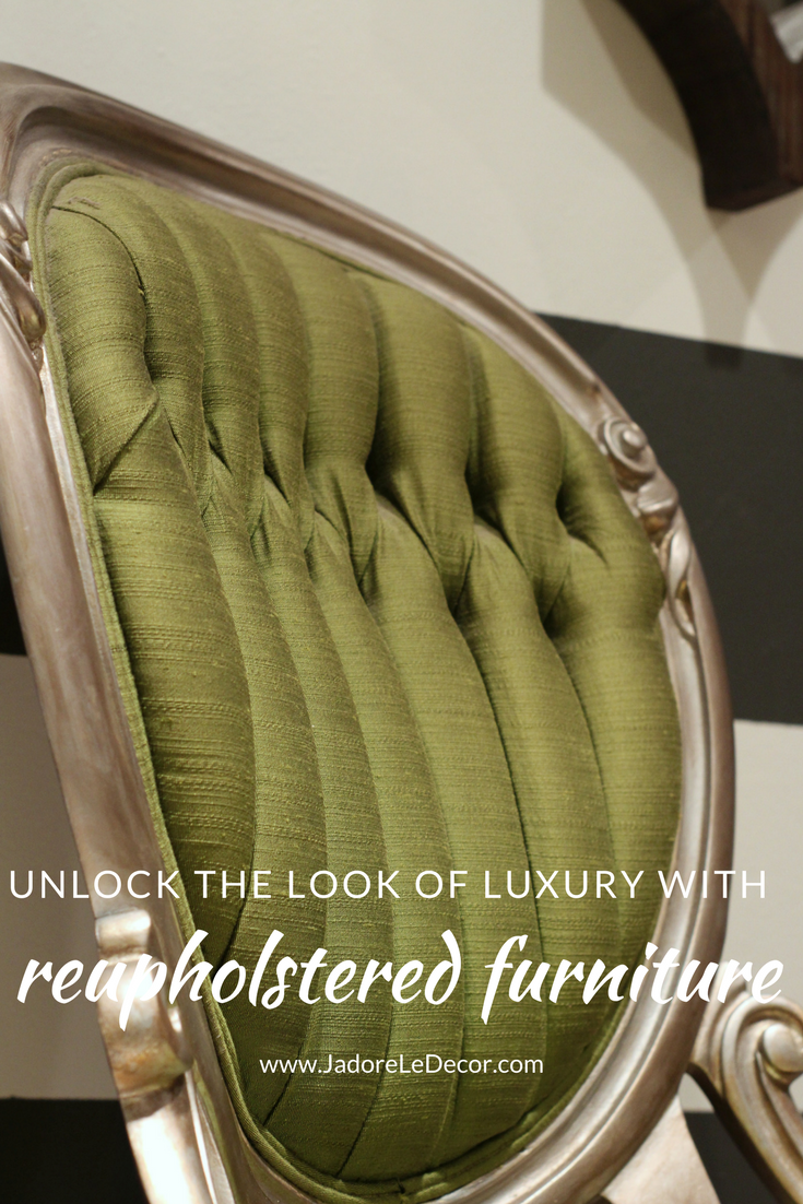www.JadoreLeDecor.com | Unlock the look of luxury in your home by incorporating reupholstered furniture | Small space living | Small Space furniture | Rehupholstered Pieces | Chairs
