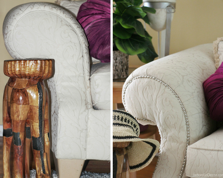www.JadoreLeDecor.com   See how I used a simple roll of nail head trim to upgrade my traditional sofa.   Small space living   Furniture Upgrades