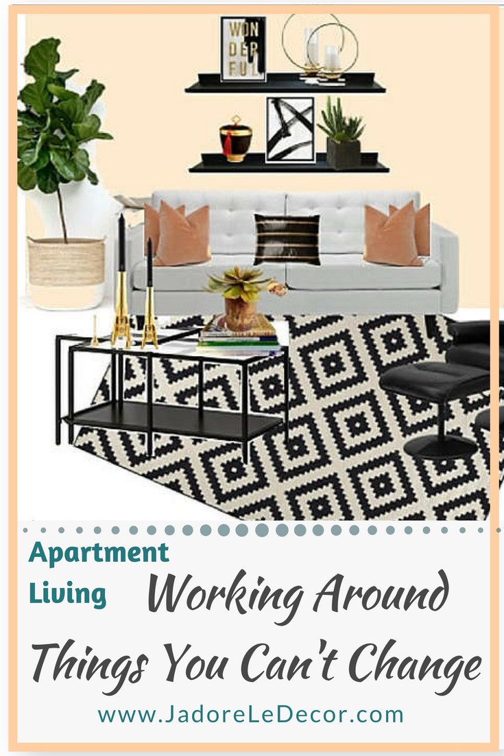 www.JadoreLeDecor.com   For many, apartment living means having to work around undesirable decor or design choices that the renter is restricted to change. Here's the work-around.   Small space living   Apartment Life