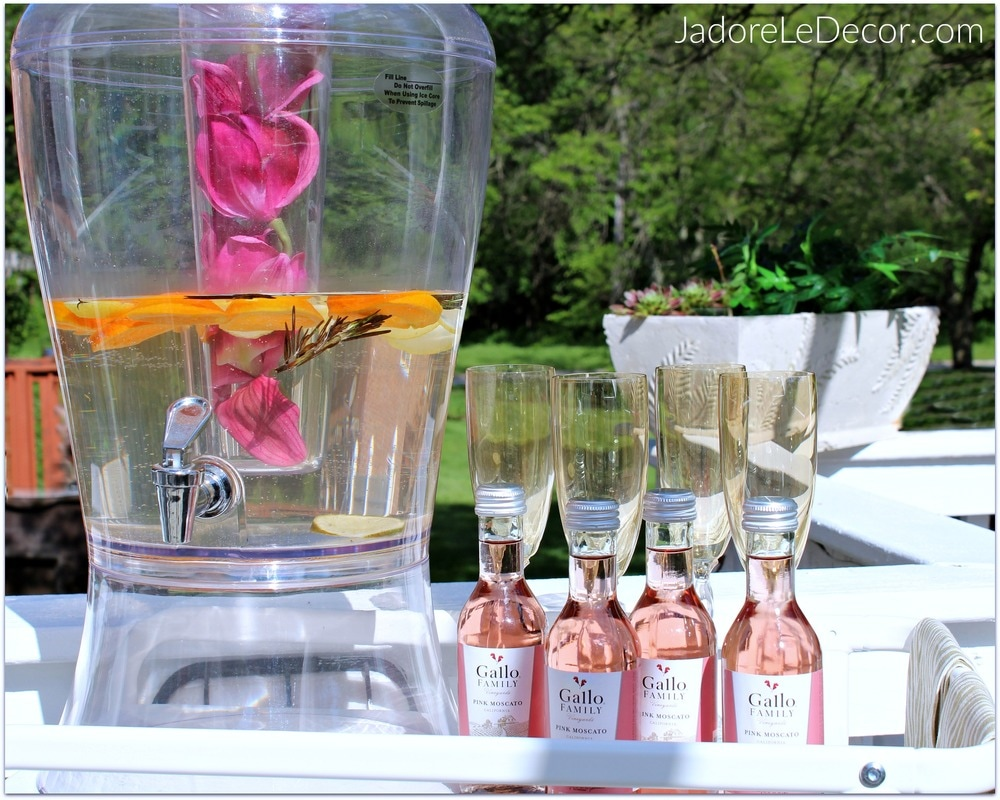 www.JadoreLeDecor.com | A simple, small bar cart styling for a ladies' night in. | Bar Cart Styling