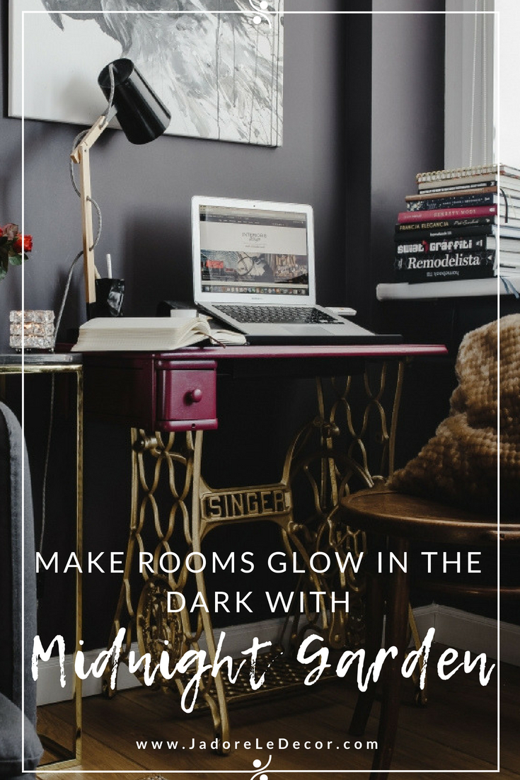 www.JadoreleDecor.com | Midnight Garden, as it relates to interiors, is a luscious opulent look that combines dark moody walls with pops of colorful or rich jewel tones.Here's inspiration on how to embrace it.