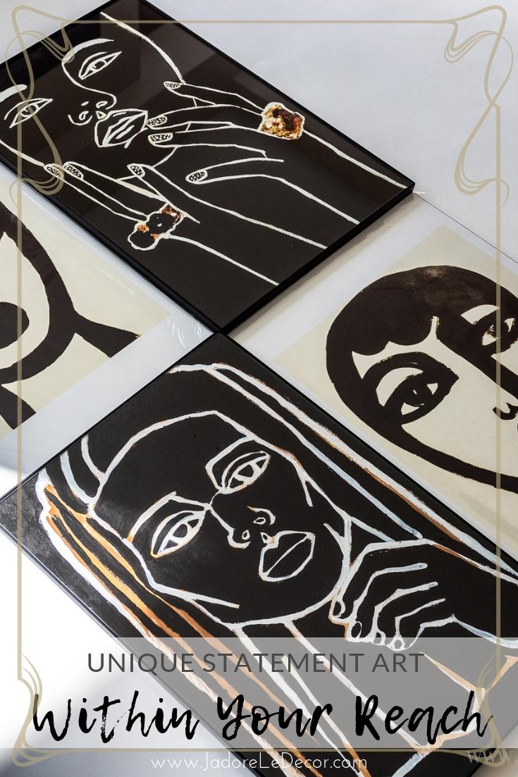 www.JadoreleDecor.com | Unique Strong Statement Art Work really is within your reach with Natalie O. Decor | #etsyartist #affordableart #bohoglamart #bohochicart #frenchbohemian