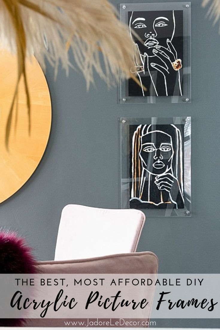 How to DIY a beautiful set of clear acrylic floating frames to create a museum quality display at home. www.jadoreledecor.com | DIY floating frames | An easy acrylic frame tutorial for the DIY'er | Plexiglas floating frame tutorial | Home Decor #globalbohemianchic #smallspaceliving #makeover #bohoglam #jadoreledecor