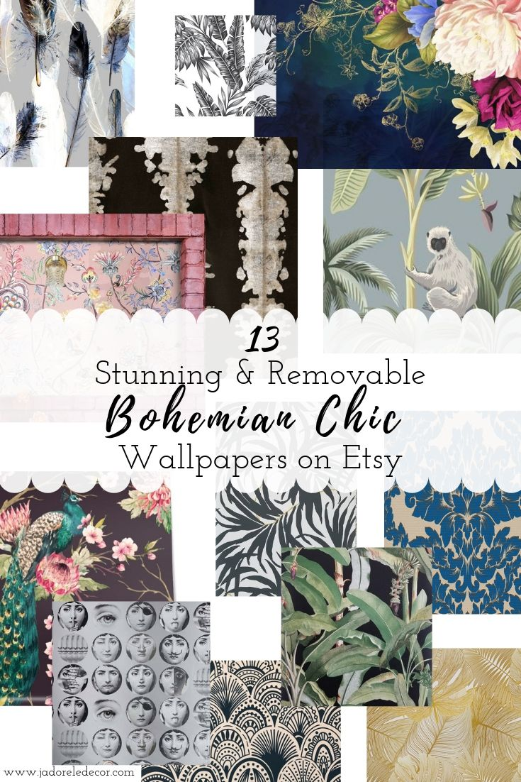www.jadoreledecor.com/blog/13-stunning-removable-wallpapers-that-seize-boho-beautifully | Removable wallpaper is an affordable decorative solution for tired walls. Here's where to find the best selection for bohemian-inspired spaces. | Solutions for decorating a rental | Small space decorating | Small Space LivingHome Decor #globalbohemianchic #smallspaceliving #makeover #bohoglam