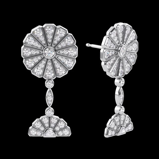Brightcut introduces its #highjewelry collection, inspired by Japanese fans. Fan symbolizes the beginning of life and the ribs stand for the roads of life going out in all directions to bring good fortune and happiness. ⠀ Platinum diamond drop style earrings with highest quality gemstones with bezel set round and half moon cut diamonds. Inquire via email or DM.⠀ .⠀ .⠀ .⠀ .⠀ #finejewelry #jewelry #luxury #diamonds #instajewelry #jewelrygram #luxuryjewelry #hautejoaillerie #jewelrydesign #jewelryoftheday #finejewellery #earrings #jewels #jewelsofinstagram #fashionjewelry #highjewelry