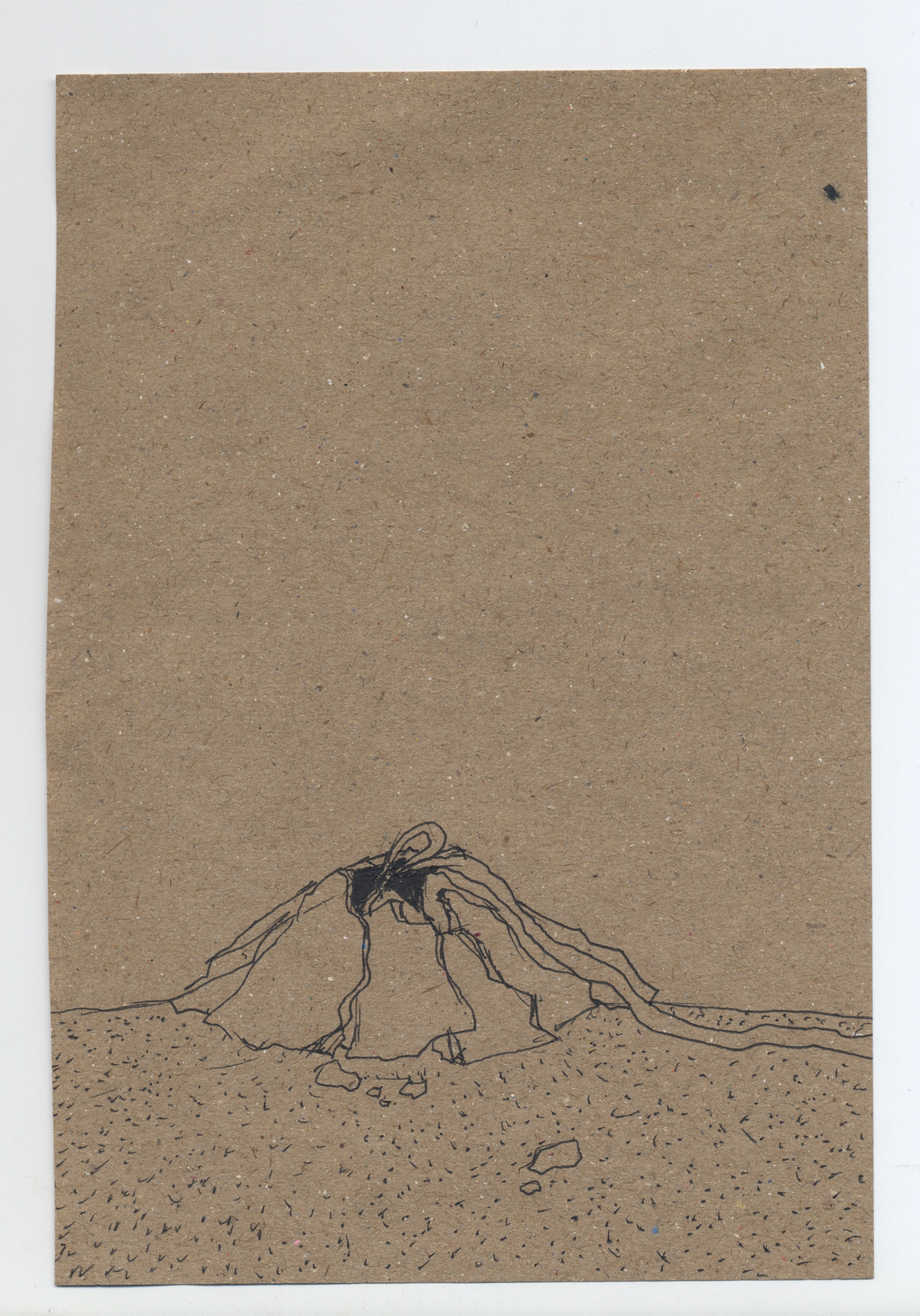 and the ribbon ran away with the balloon  pen & ink on kraft paper 2009