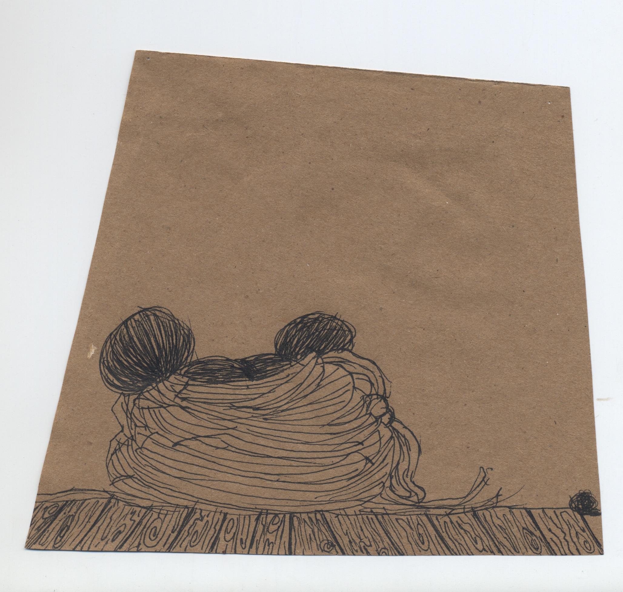 burrow  pen & ink on kraft paper 2011