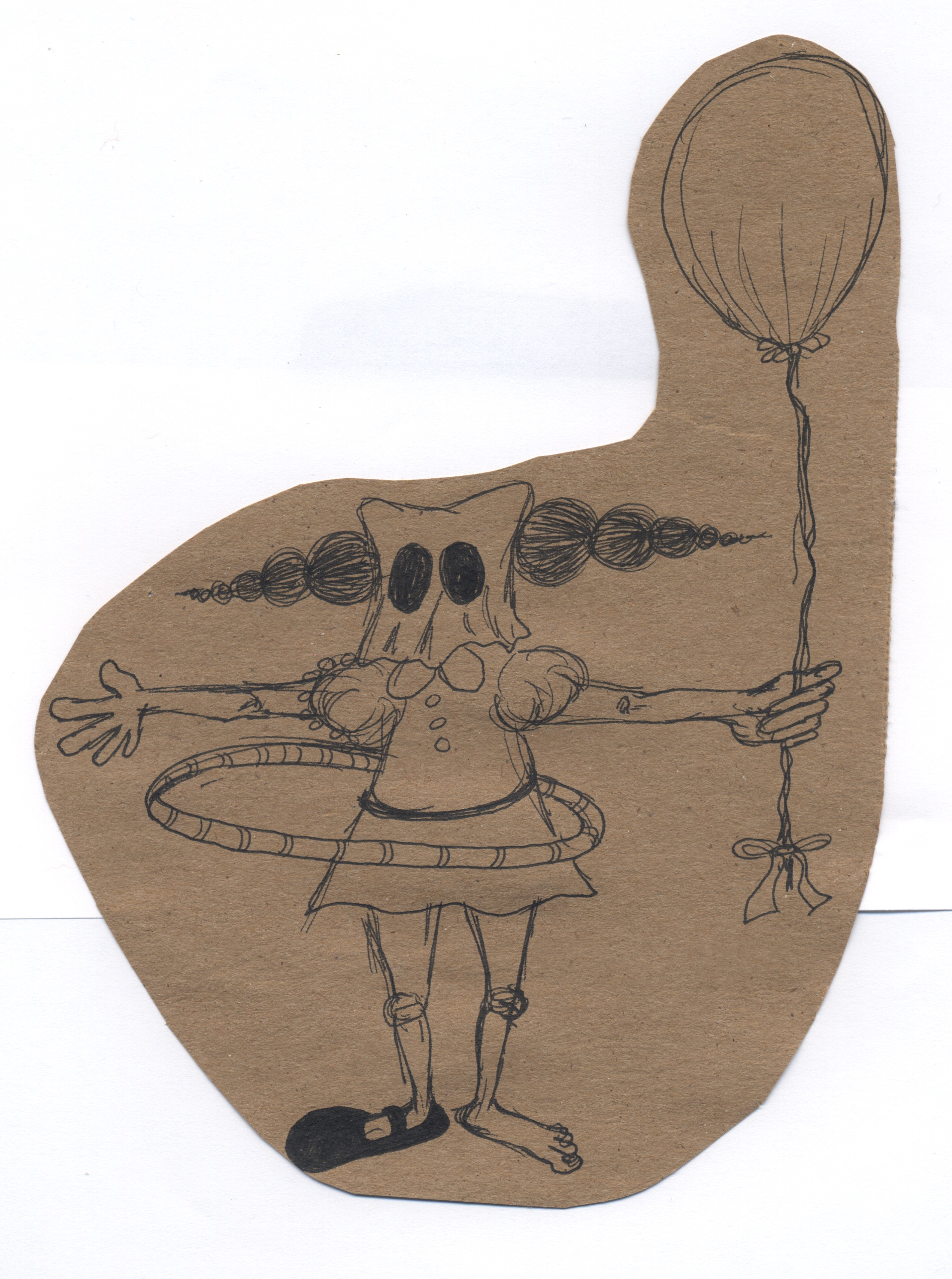 here and there  pen & ink on kraft paper 2011