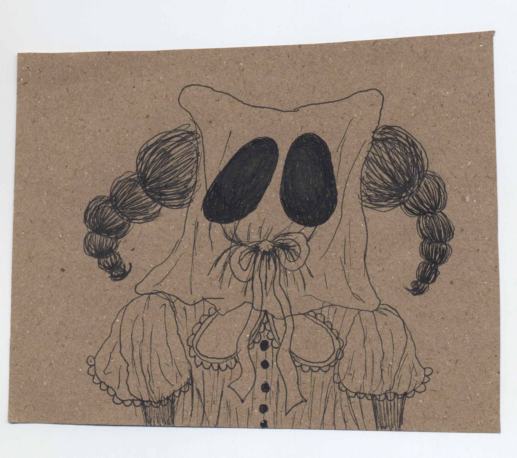 when ghosts speak  pen & ink on kraft paper 2010