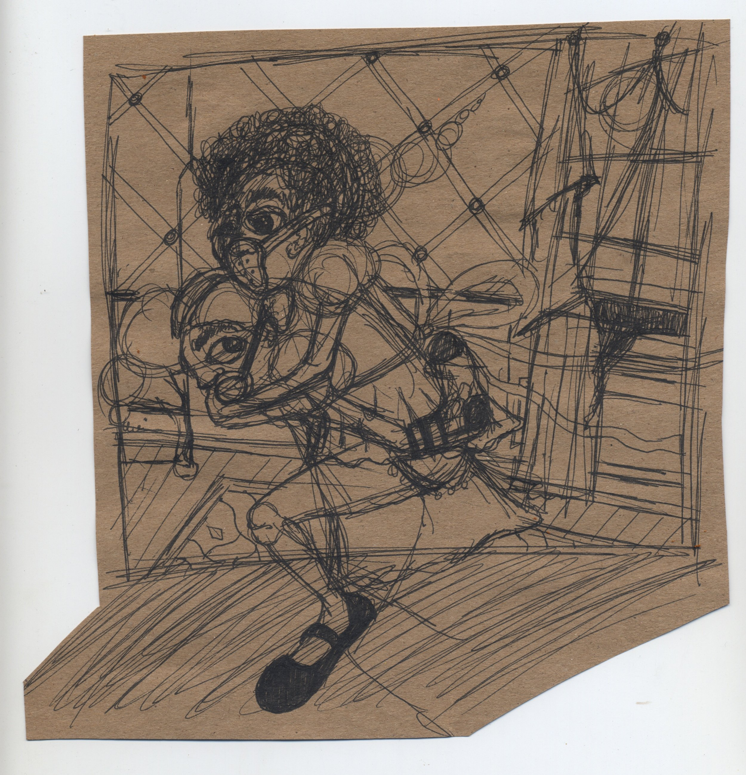 when chickens come home to roost study  pen & ink on kraft paper 2011