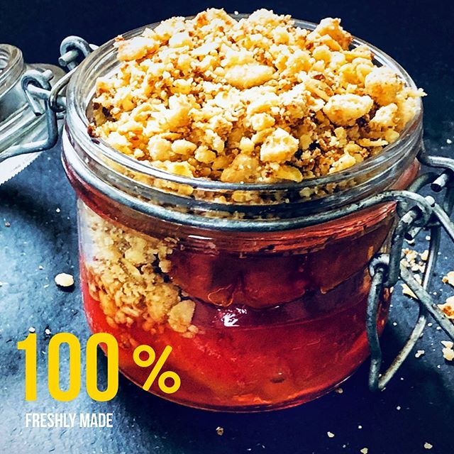 Plum + Crumble by #FRESHLYMADE Poached plums in delicate sweet plum and tarragon sauce topped with a buttery crumble 😋 link in bio.  #livelifetothefullest #traveling #feasting #livinglife #shipwrecked #porquerolles #corsica #solotravel #newadventures #recipes #plumcrumble