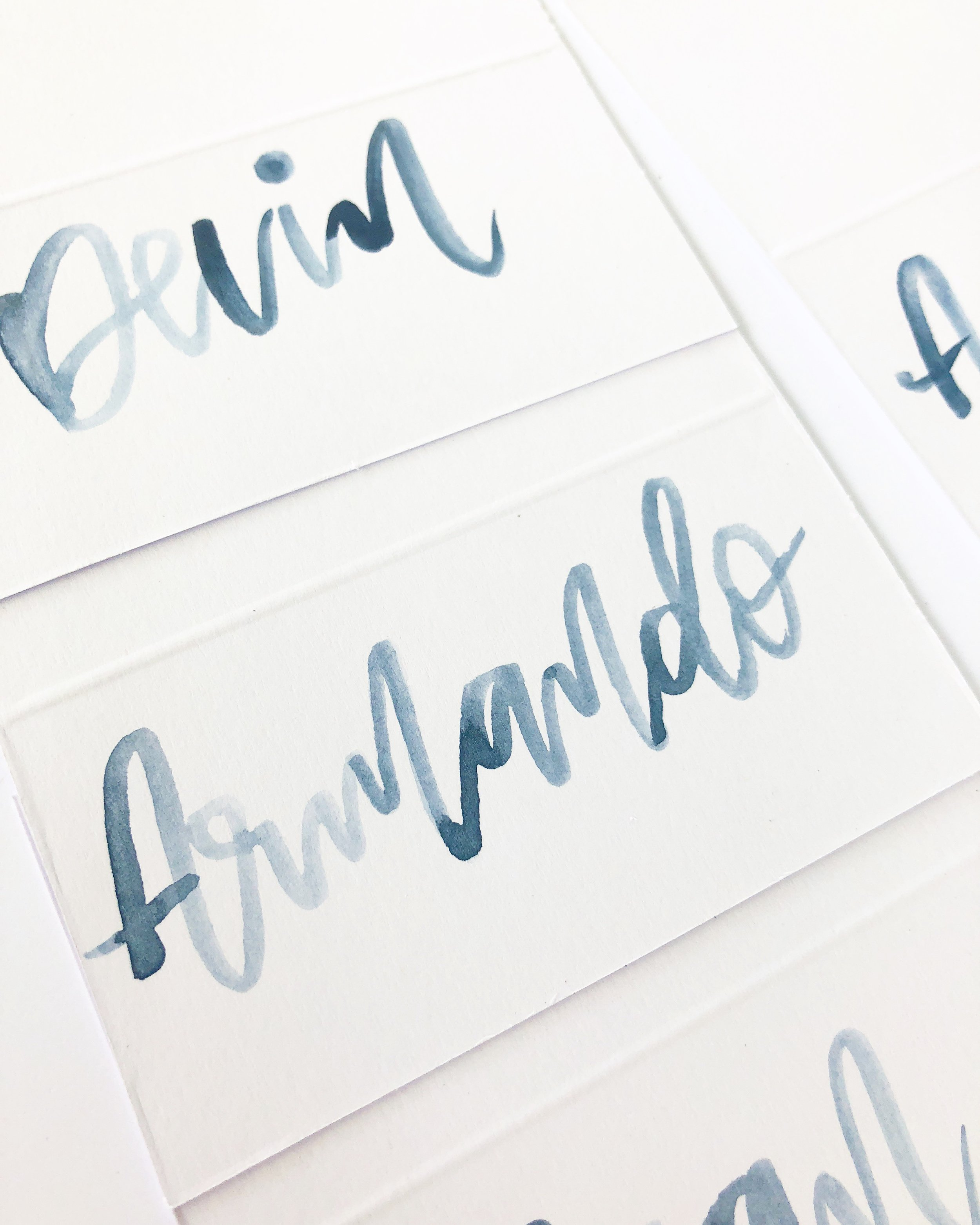 Palms and Paper_Watercolor Calligraphy_tent cards