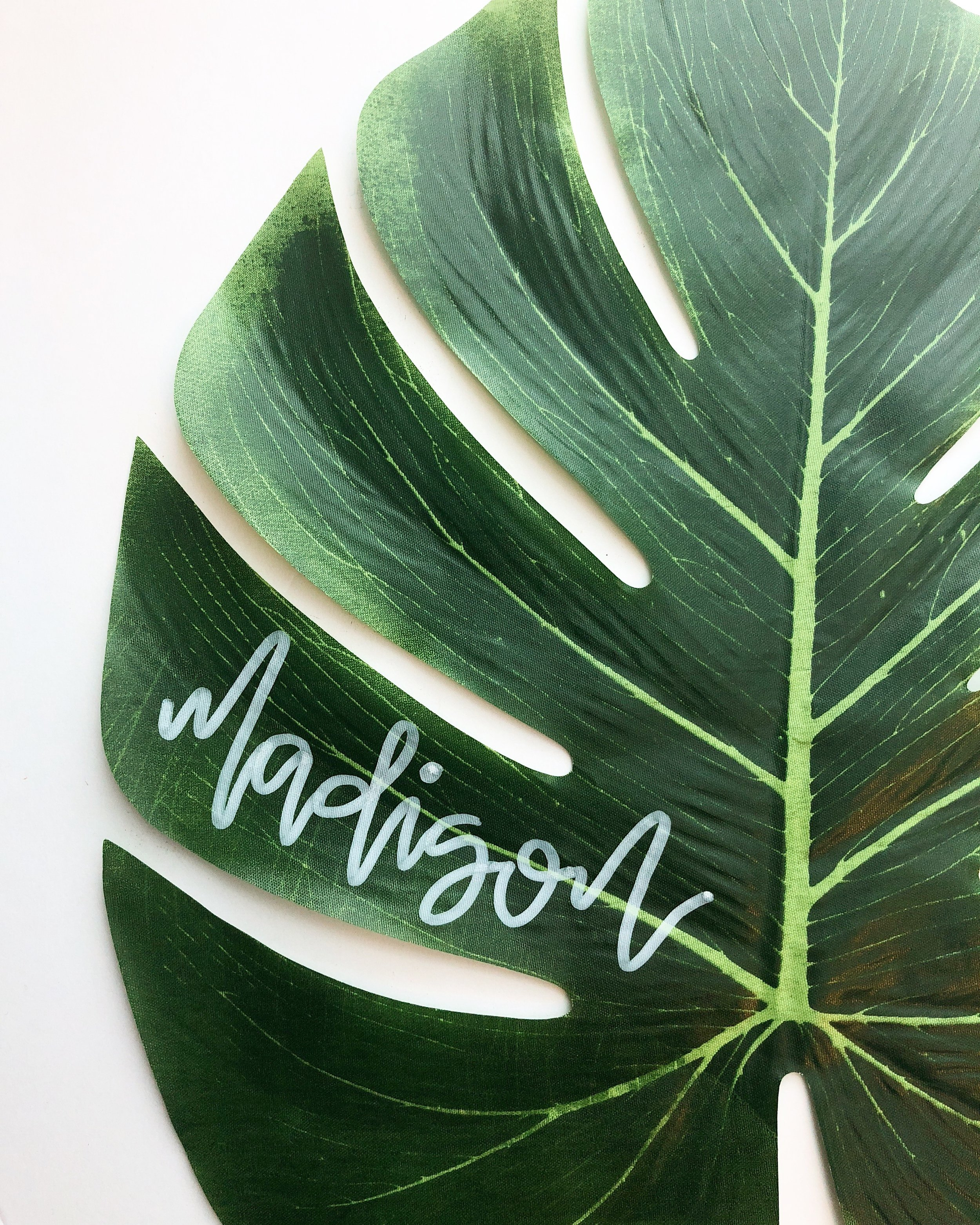 palms and paper_palm leaf place cards_tropical wedding decor