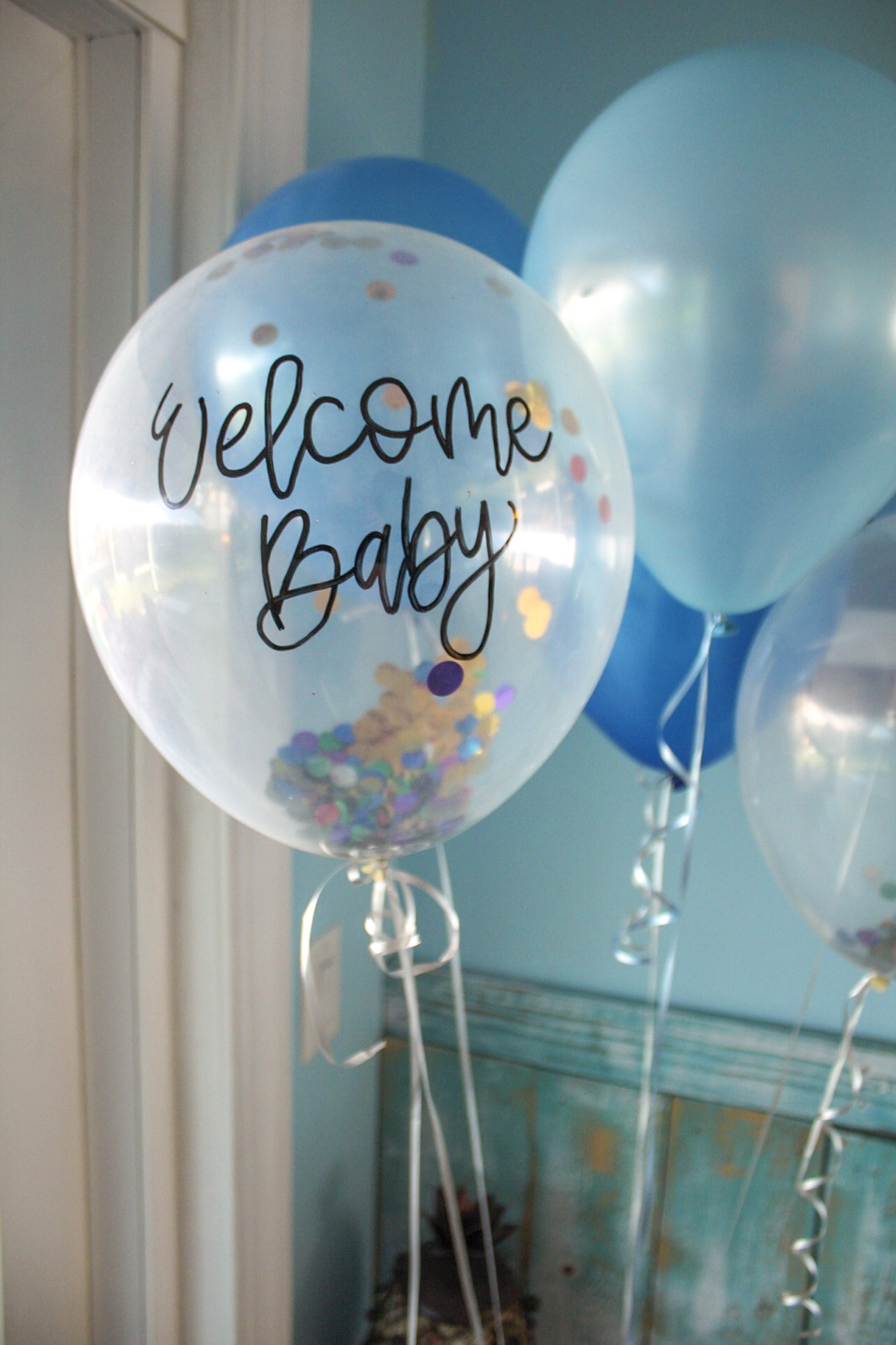 baby sprinkle brunch decor and calligraphy balloons