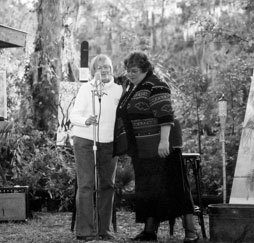 Phyllis Hansen (on left), recipient of a Land Conservation Award, was introduced by her long-time friend and fellow Cross Creek resident Kate Barnes. Photo by Ed Geers.