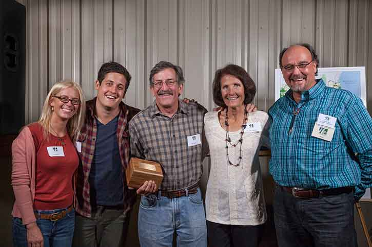Dr. and Mrs. K.C. And Marybeth Nayfield were presented with the 2013 Land Conservation Award for protecting their magnificent property near the Suwannee River. From left: Amy Stern, Cory Nayfield, Dr. and Mrs. K.C. And Marybeth Nayfield, and CTF President David Pais. Matt Dube'/Ten Speed Photography