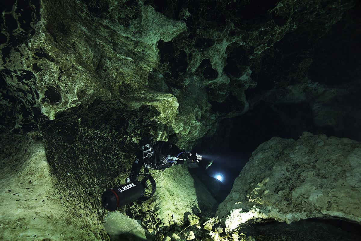Derek Dulop, a CFL intern, explores Florida's underground caverns.